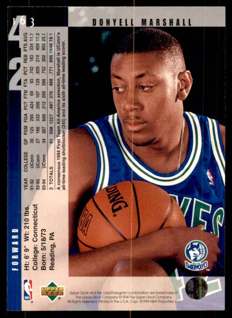 1994-95 Upper Deck Donyell Marshall RC #163 card back image