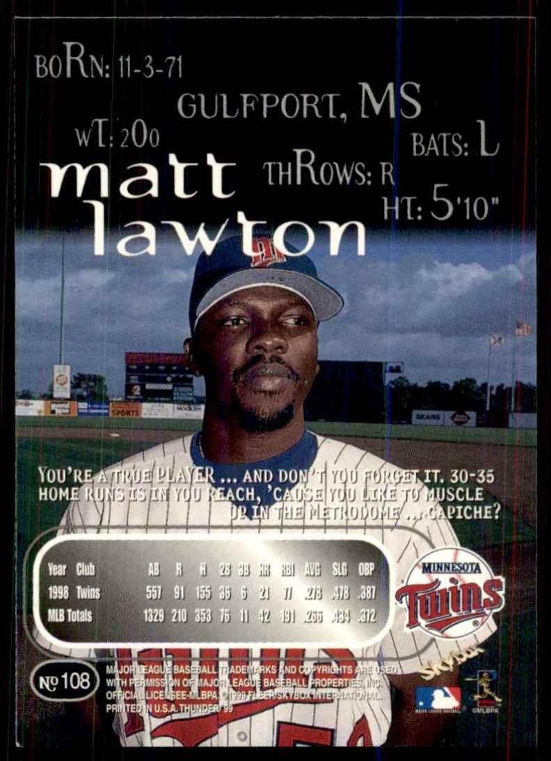 1999 Skybox Thunder Matt Lawton #108 card back image