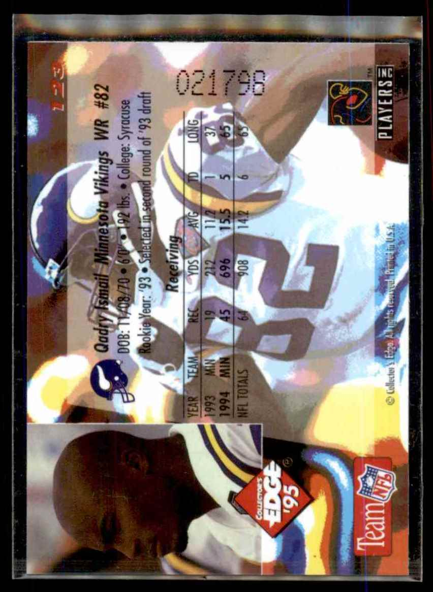 1995 Collector's Edge Gold Logo Qadry Ismail #123 card back image