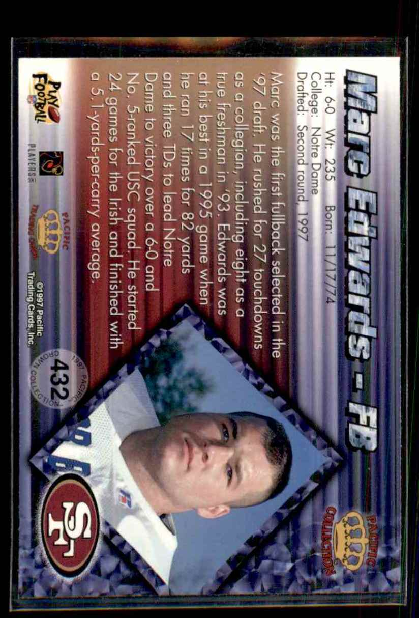 1997 Pacific Marc Edwards #432 card back image