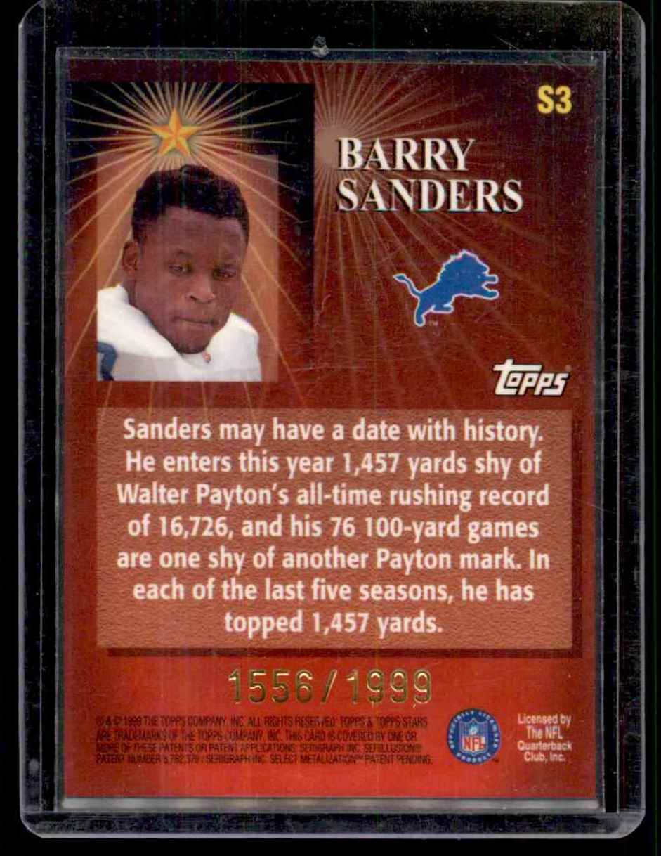 1999 Topps Stars Stars Of The Game Barry Sanders #S3 card back image