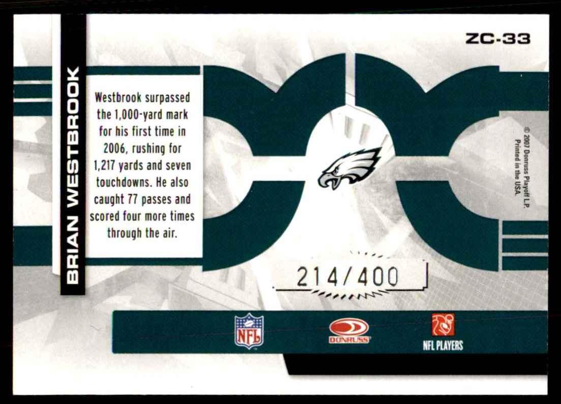 2007 Donruss Elite Zoning Commission Black Brian Westbrook #33 card back image