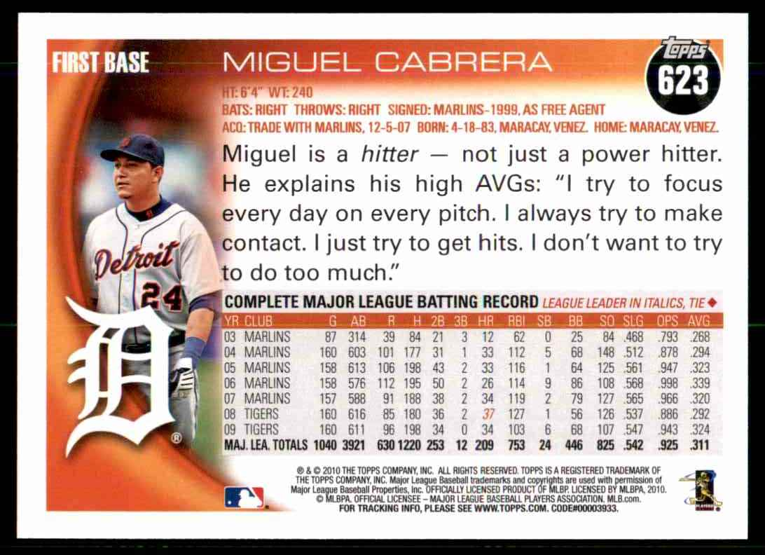 2010 Topps Miguel Cabrera #623 card back image