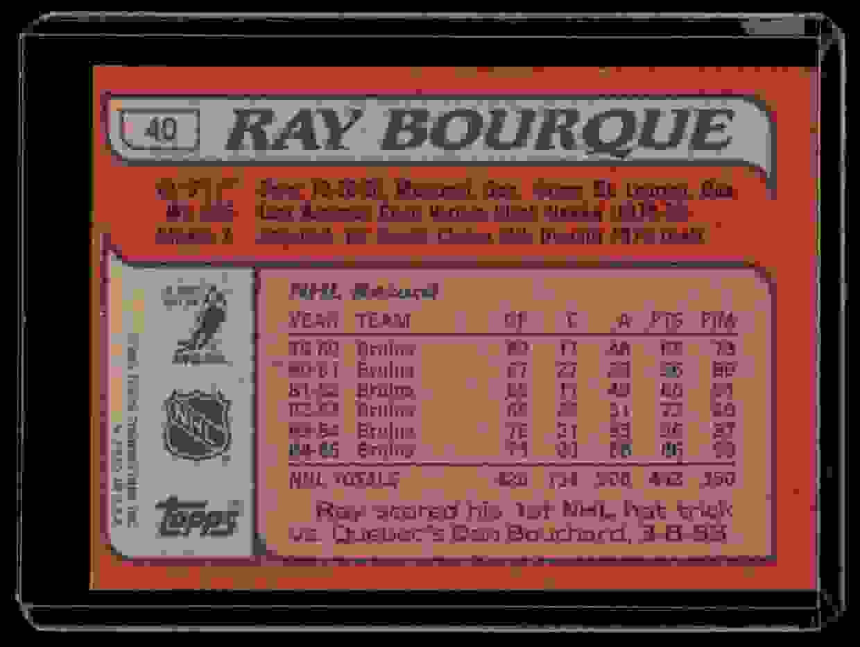 1985-86 Topps Ray Bourque #40 card back image