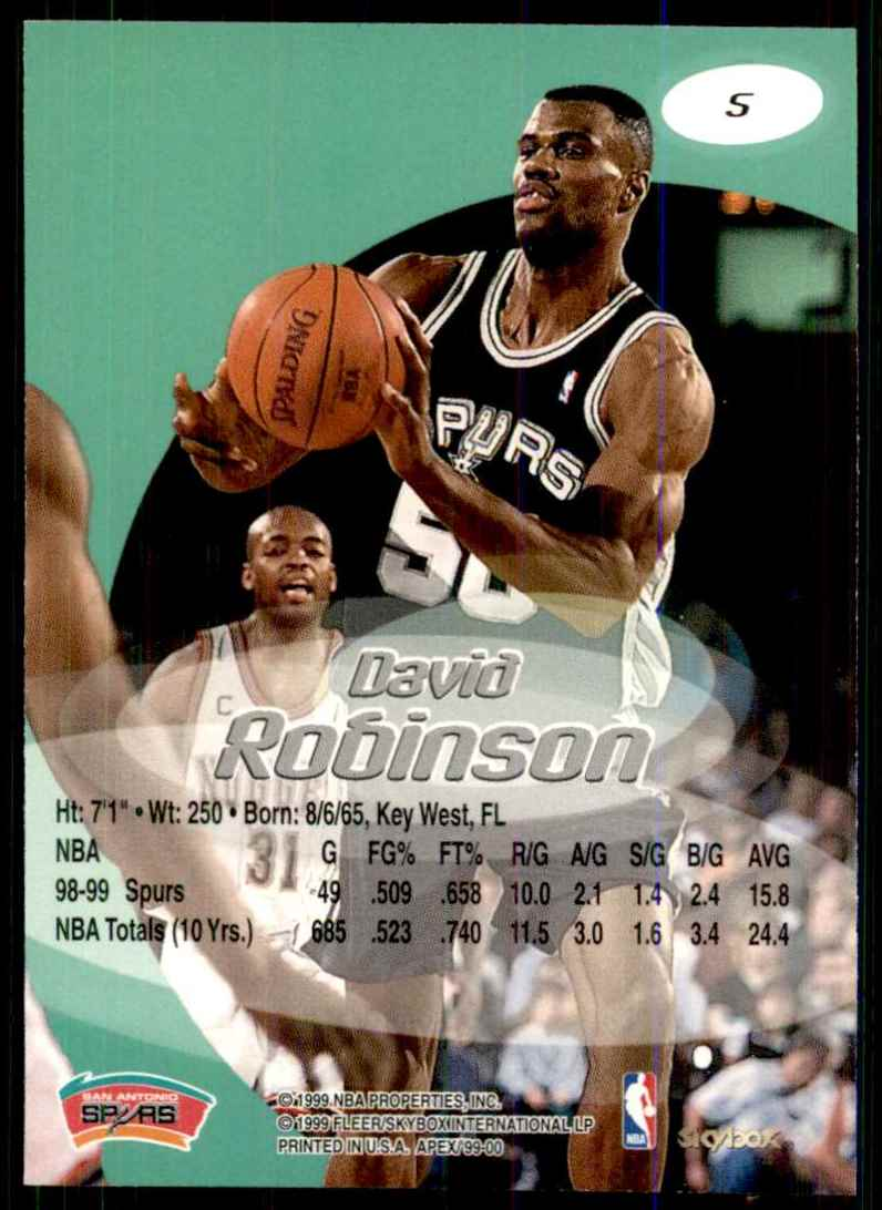 1999-00 Skybox Apex David Robinson #5 card back image