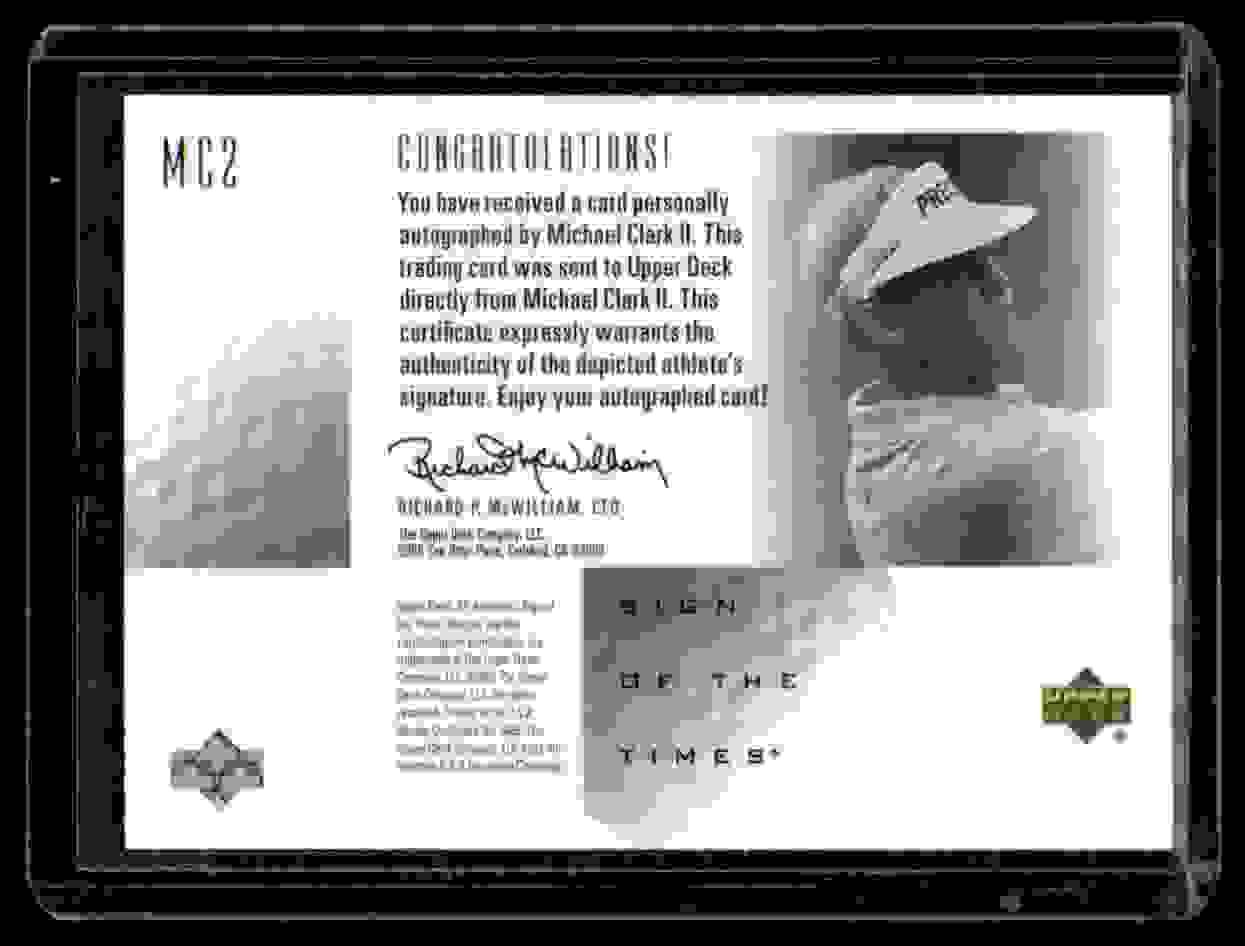 2001 SP Authentic Sign Of The Times Michael Clark #MC2 card back image