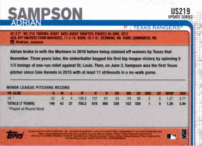 2019 Topps Update Adrian Sampson RC #US219 card back image