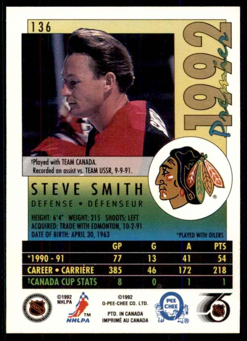 1991-92 OPC Premier Steve Smith #136 card back image