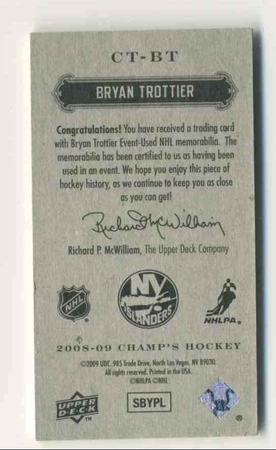 2008-09 Upper Deck Champ's Mini Threads Bryan Trottier #CT-BT card back image