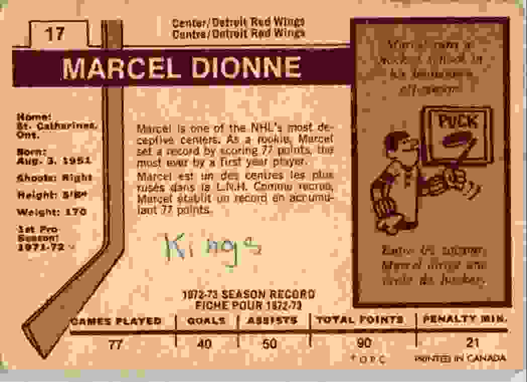 1973-74 O-Pee-Chee Marcel Dionne #17 card back image