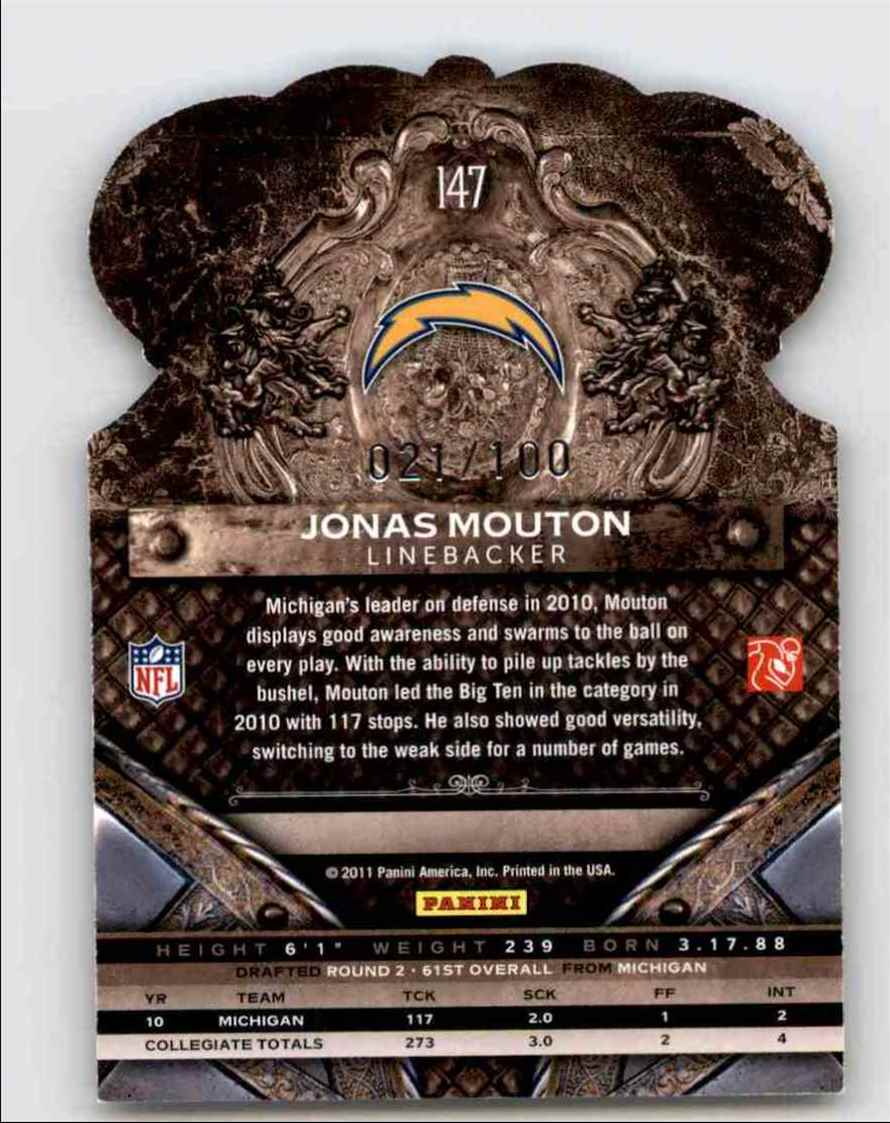 2011 Crown Royale Blue Jonas Mouton #147 card back image