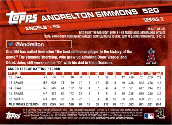 2017 Topps Series 2 Andrelton Simmons #520 card back image