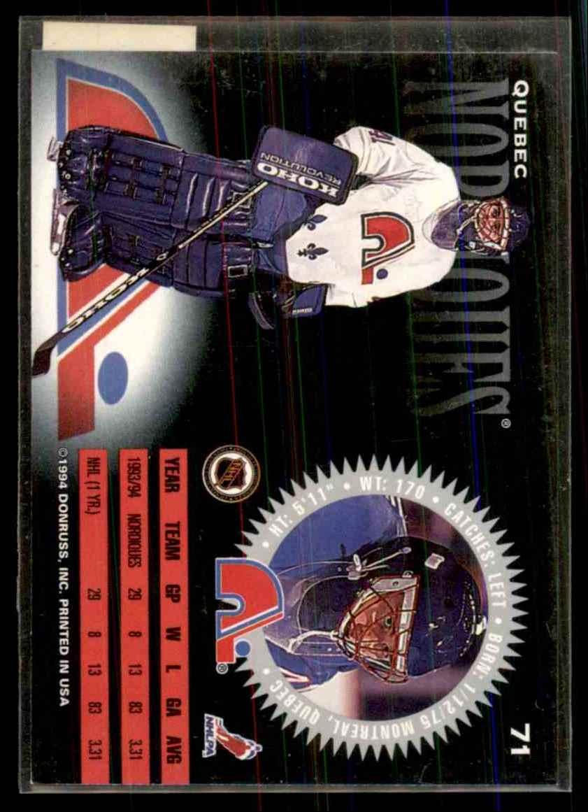 1994-95 Donruss Jocelyn Thibault #71 card back image
