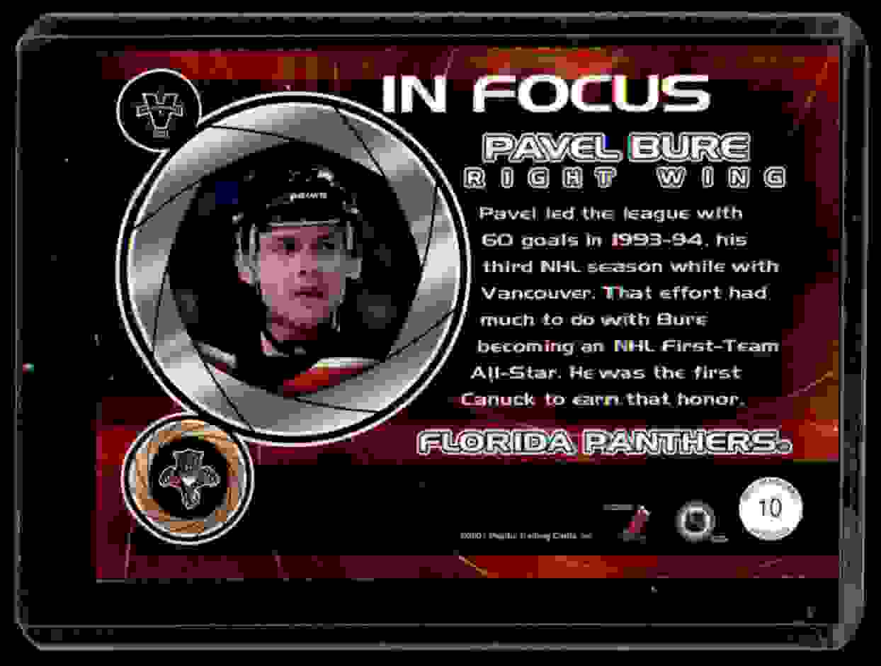 2000-01 Pacific Vanguard In Focus Pavel Bure #10 card back image