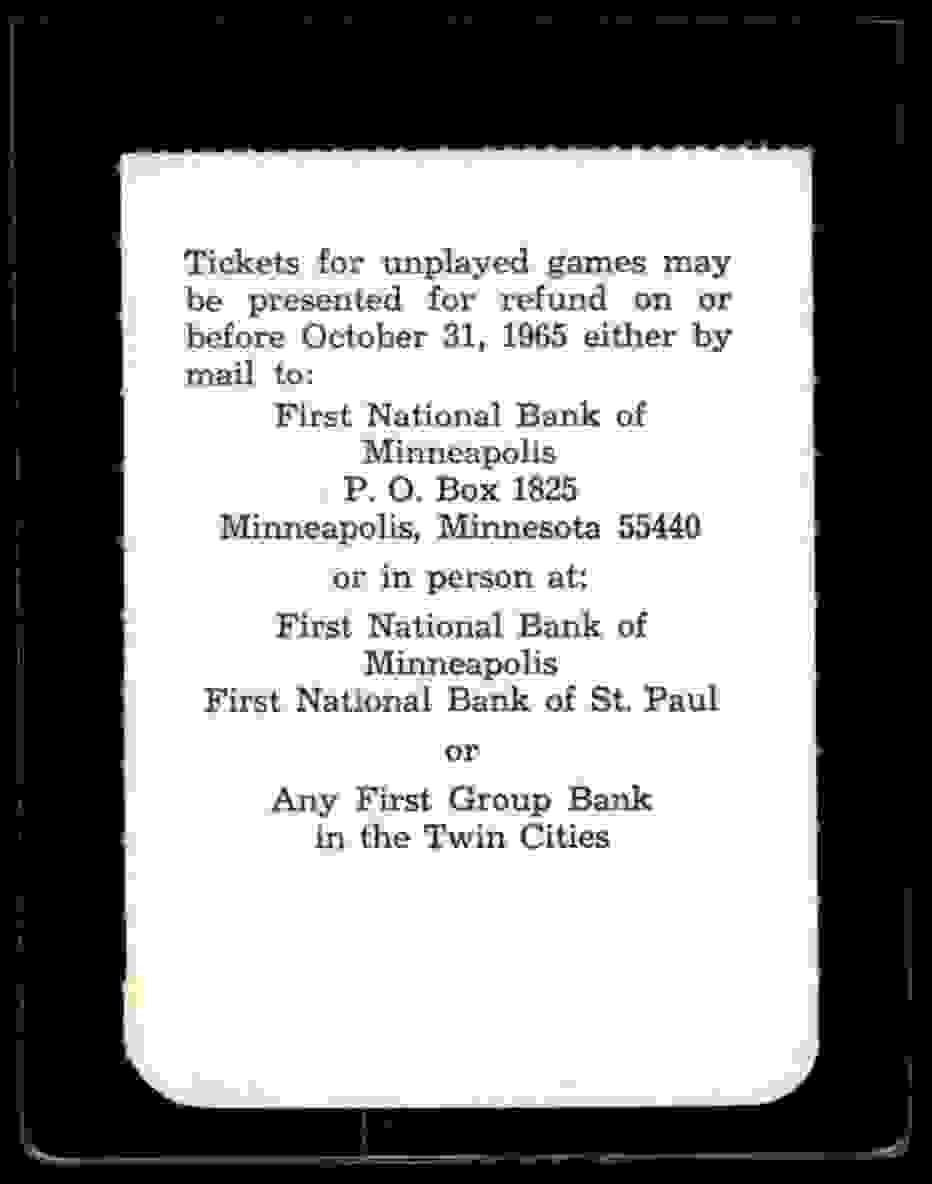 1965 World Series Ticket Stubb Game 6 Minnesota Twins Log Angeles Dodgers #NNO card back image