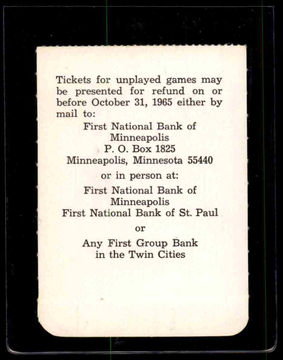 1965 World Series Ticket Stubb Game 6 Minnesota Twins Los Angeles Dodgers #NNO card back image