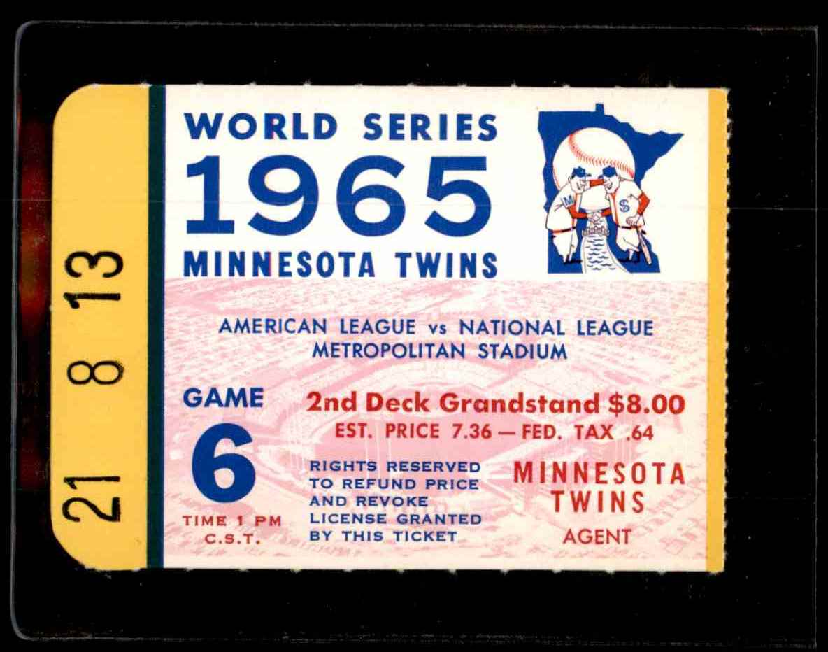 1965 World Series Ticket Stubb Game 6 Minnesota Twins Los Angeles Dodgers #NNO card front image