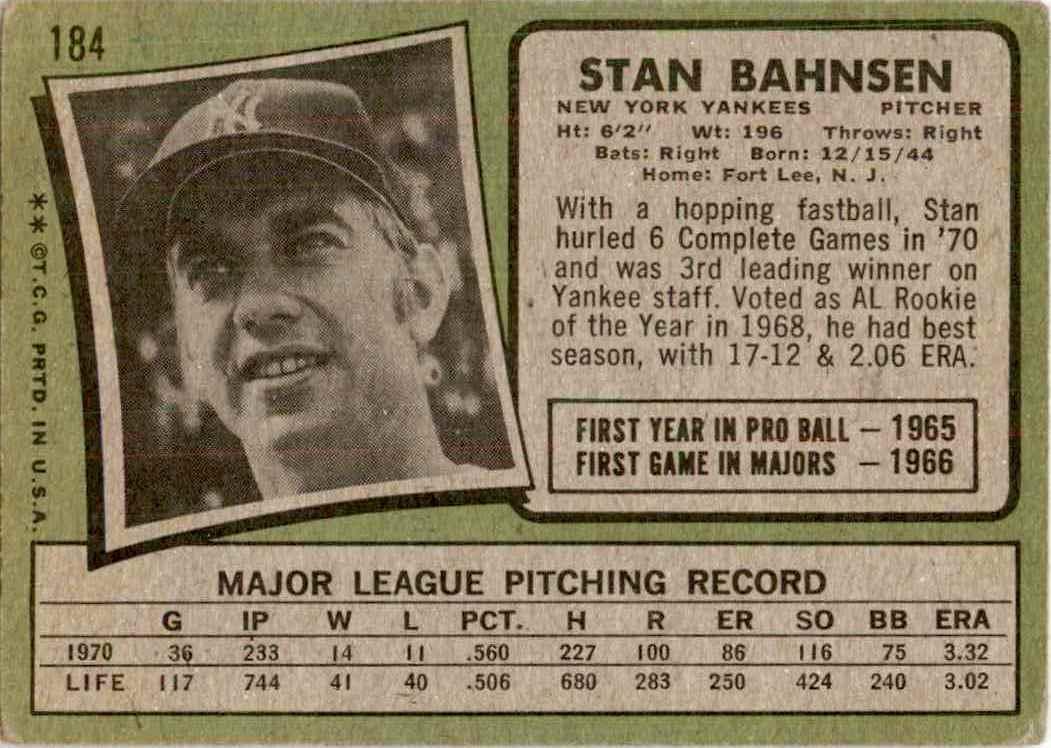 1970 Topps Stan Bahnsesn #184 card back image