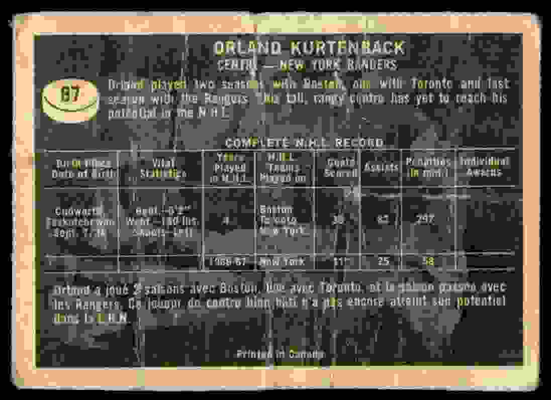1967-68 Topps Orland Kurtenbach #87 card back image