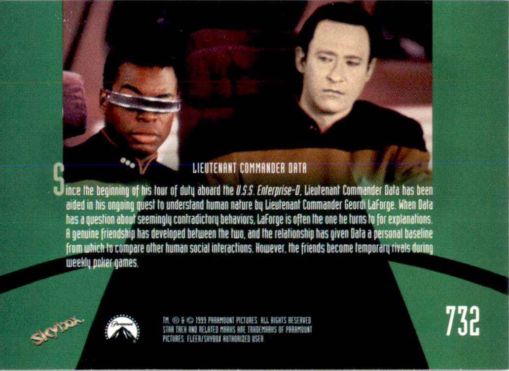 1994 Star Trek The Next Generation Episode Collection Lieutenant Commander Geordi LaForge #732 card back image