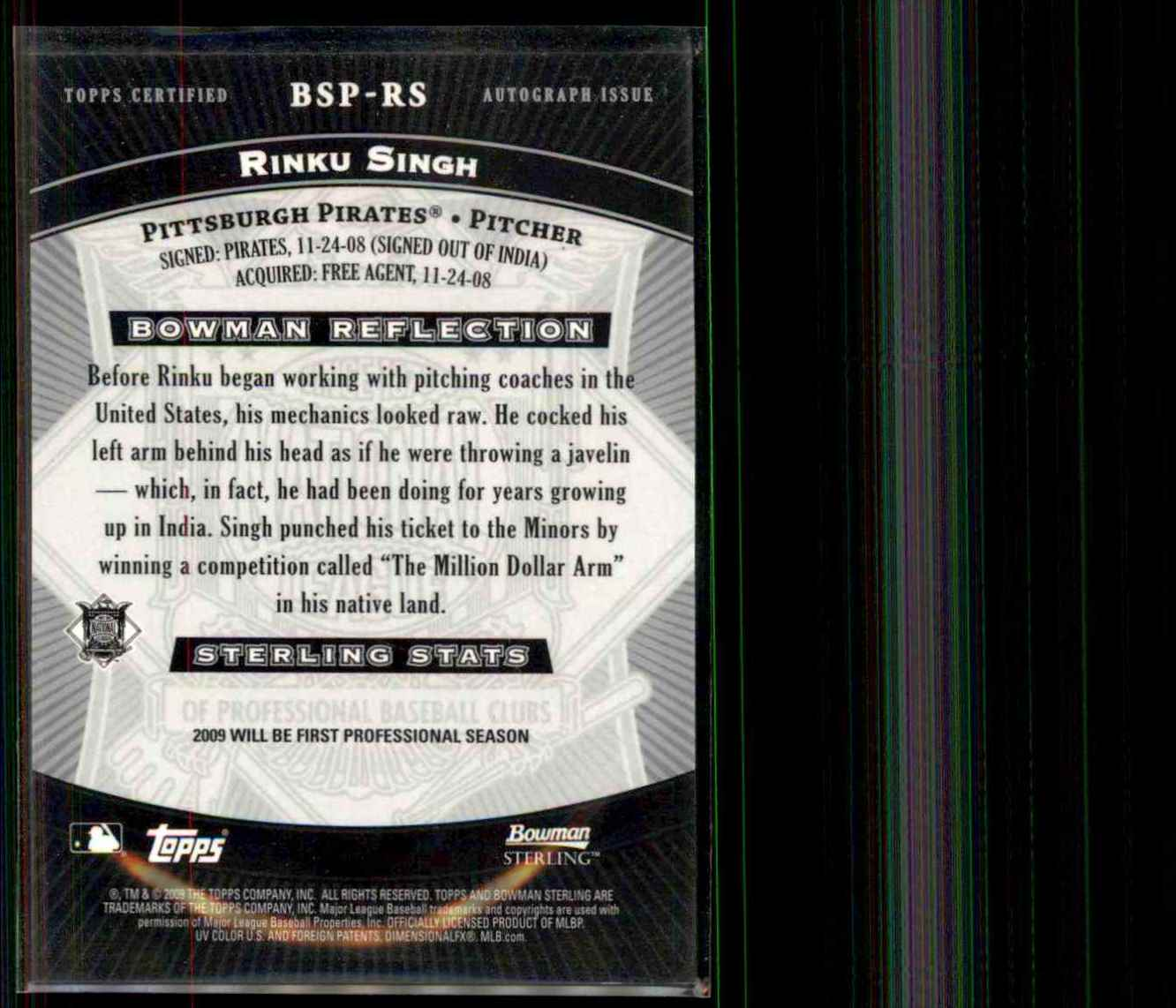 2009 Bowman Sterling Prospects Rinku Singh Au #RS card back image