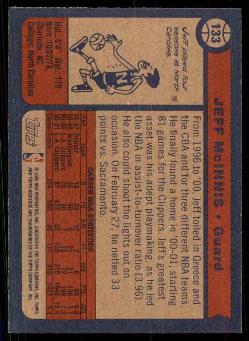 2001-02 Topps Heritage Jeff Mcinnis #133 card back image