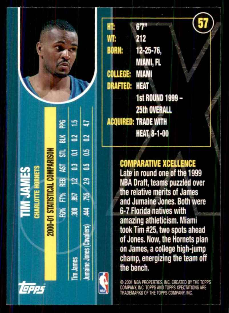 2001-02 Topps Xpectations Tim James #57 card back image