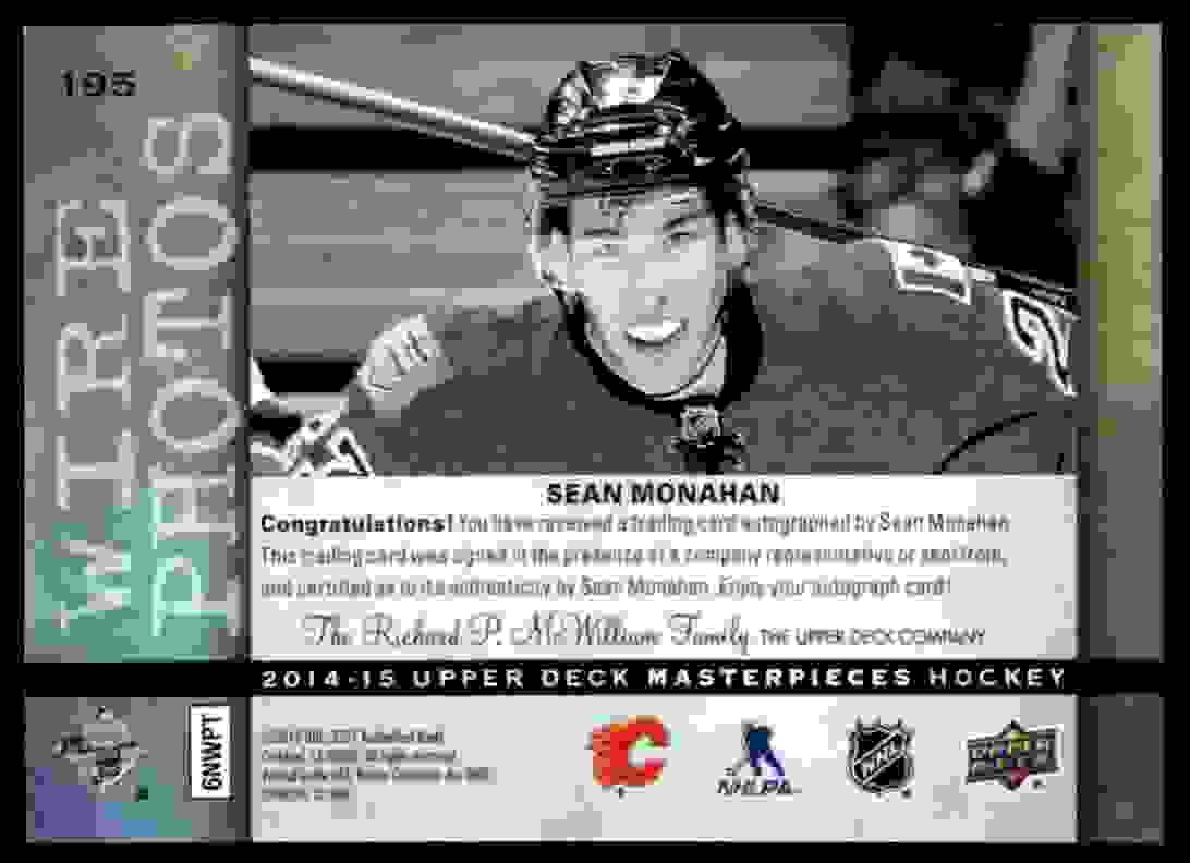 2014-15 Upper Deck Masterpieces Wire Photo Sean Monahan #195 card back image