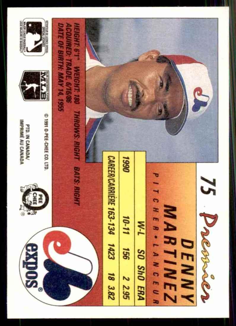 1991 O-Pee-Chee Premier Denny Martinez #75 card back image
