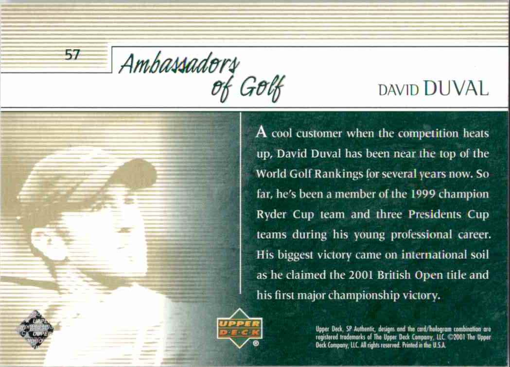 2001 SP Authentic Preview David Duval Ag #57 card back image