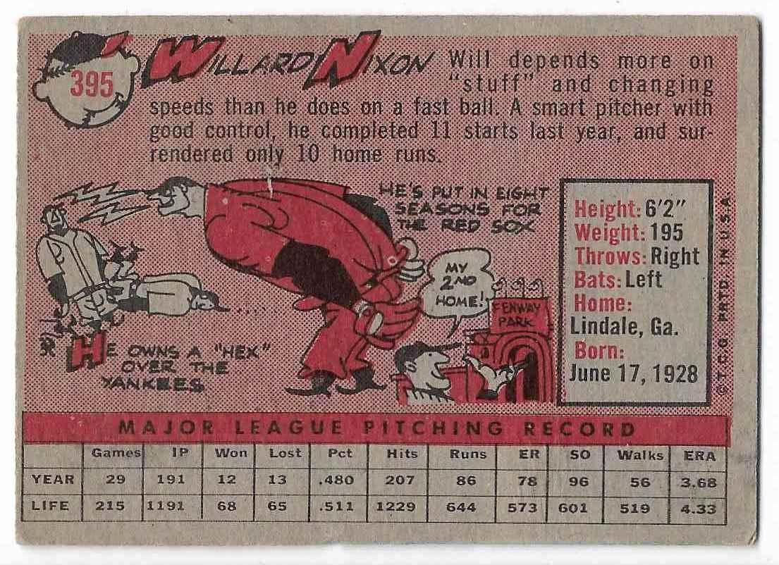 1958 Topps Willard Nixon #395 card back image