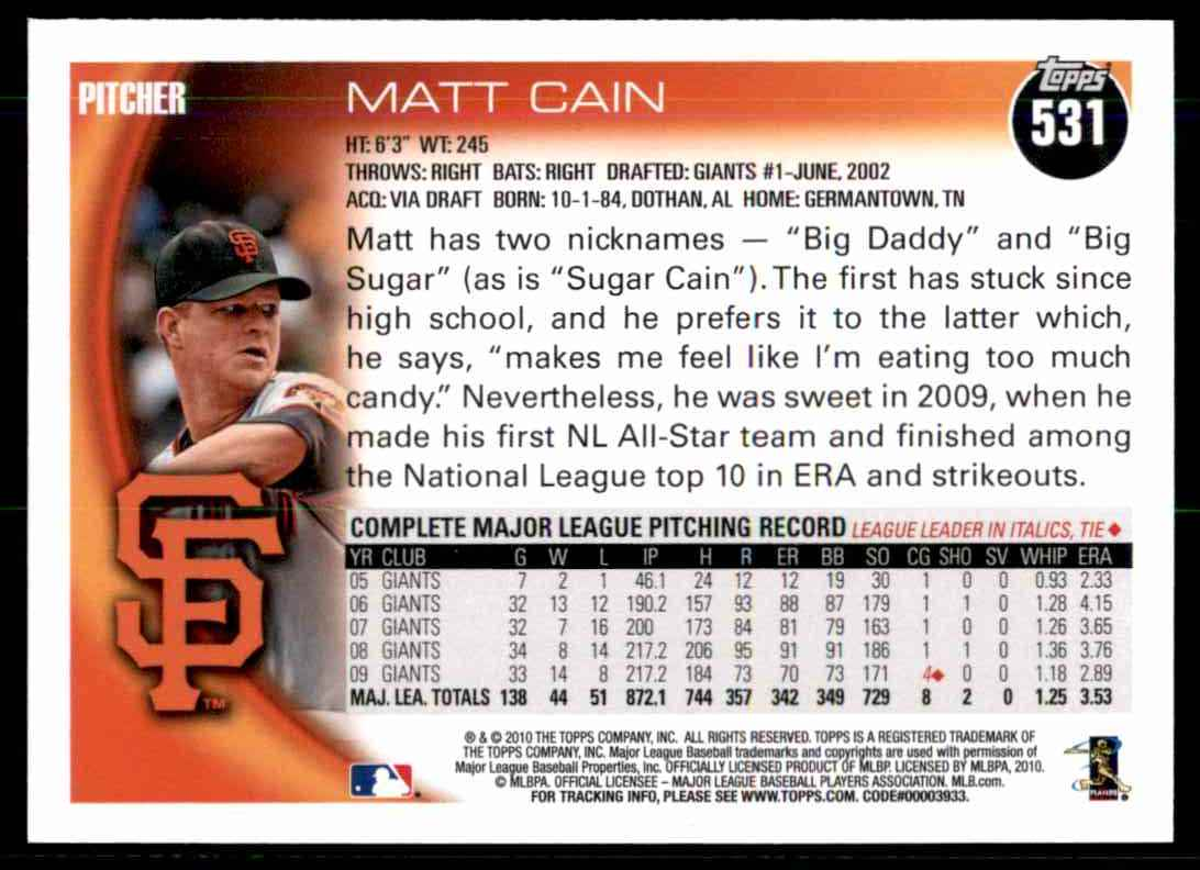 2010 Topps Matt Cain #531 card back image