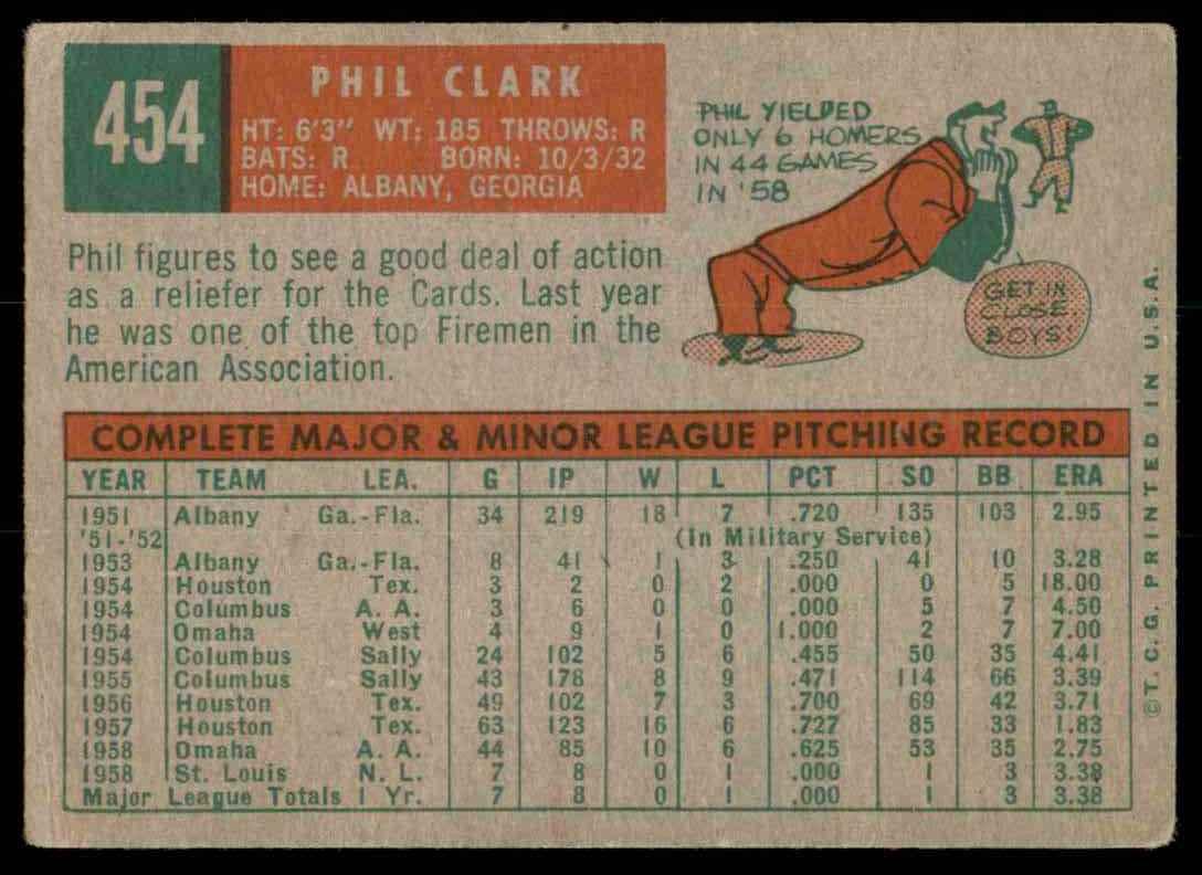 1959 Topps Phil Clark #454 card back image
