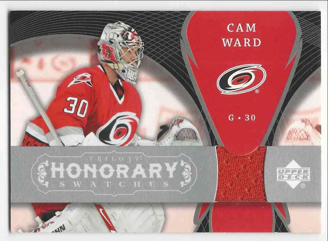 2007-08 Upper Deck Trilogy Honorary Swatches Cam Ward #HS-CW card front image