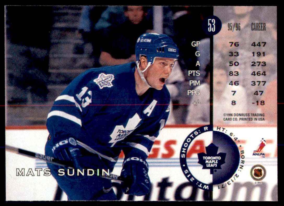 1996-97 Leaf Mats Sundin #53 card back image