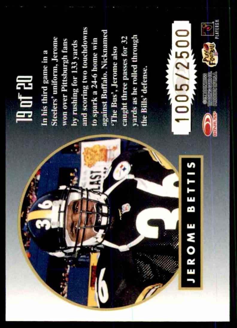 1998 Leaf Rookies & Stars Greatest Hits Jerome Bettis #19 card back image