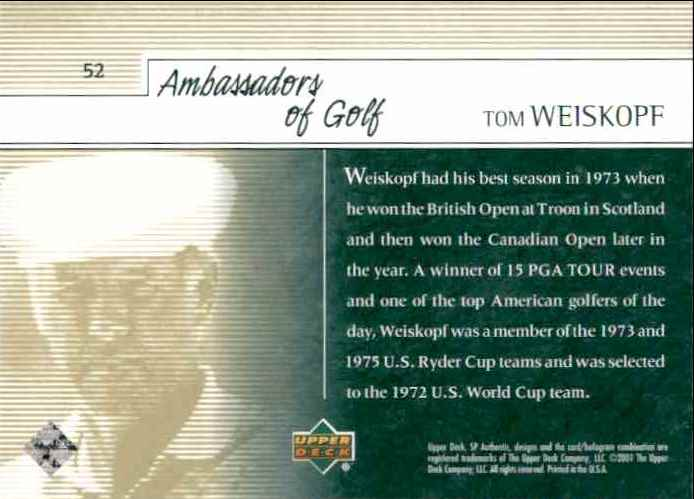 2001 SP Authentic Preview Tom Weiskopf Ag #52 card back image
