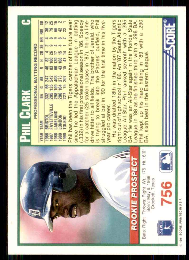 1991 Score Phil Clark RC #756 card back image