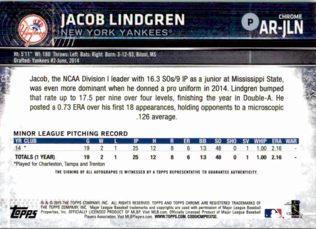 2015 Topps Chrome Jacob Lindgren #AR-JLN card back image