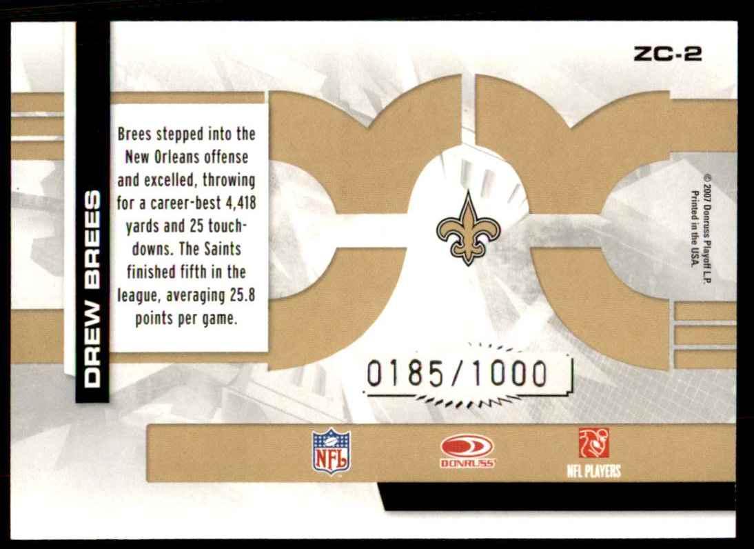 2007 Donruss Elite Zoning Commission Gold Drew Brees #2 card back image