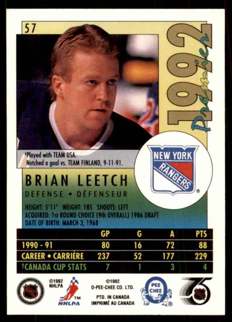 1991-92 OPC Premier Brian Leetch #57 card back image