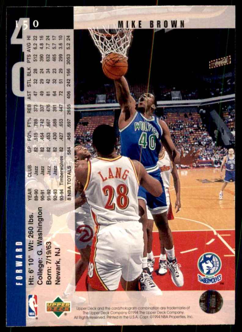 1994-95 Upper Deck Mike Brown #150 card back image