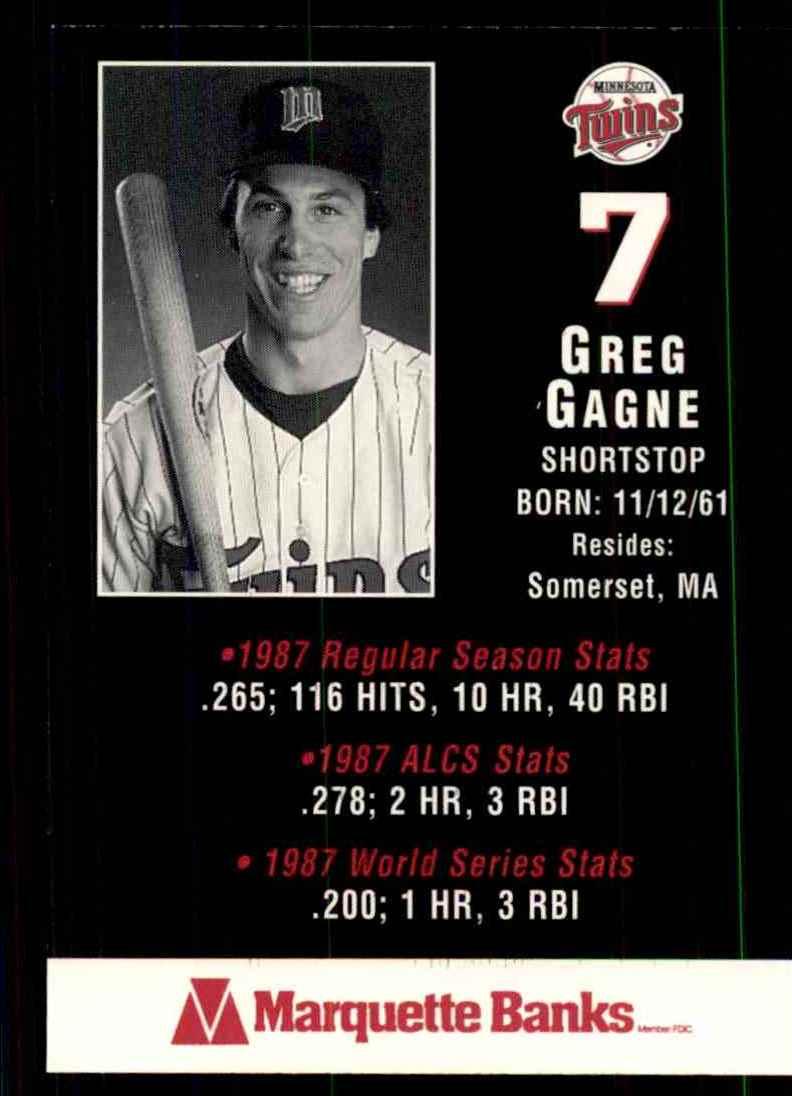 1988 Marquette Banks Greg Gagne #7 card back image