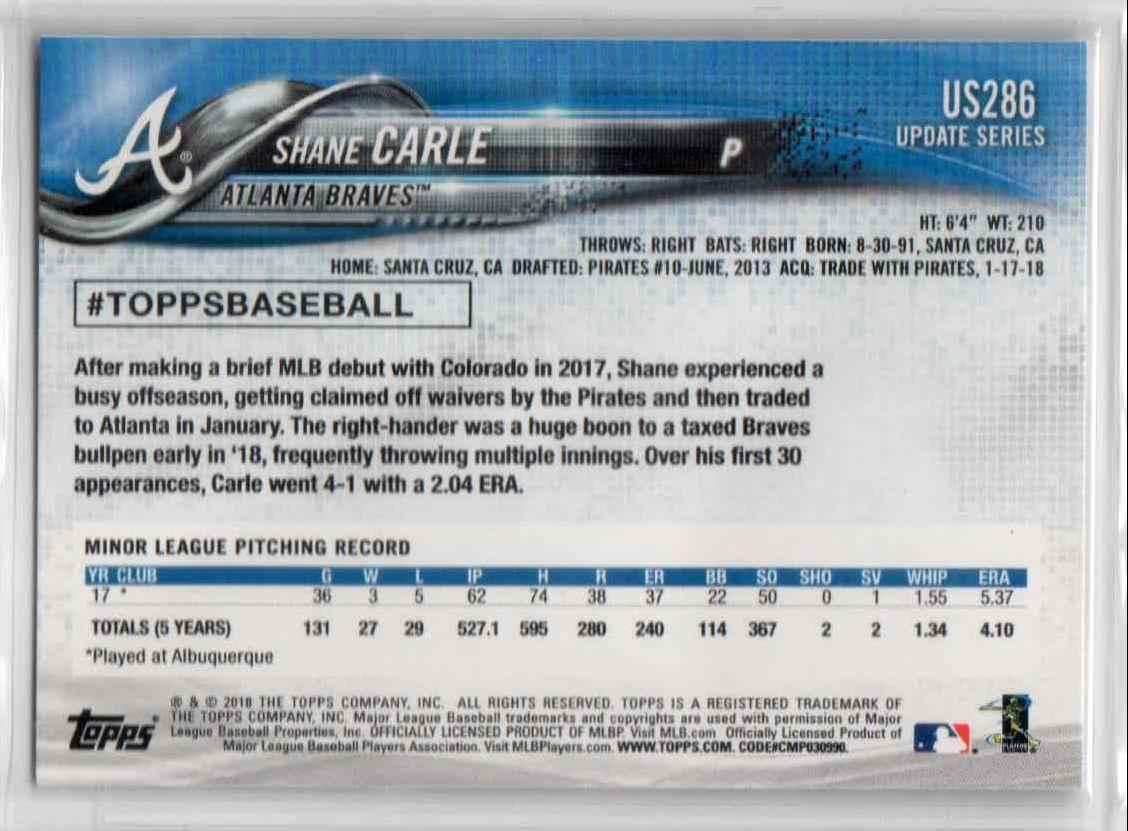 2018 Topps Update Shane Carle #US286 card back image