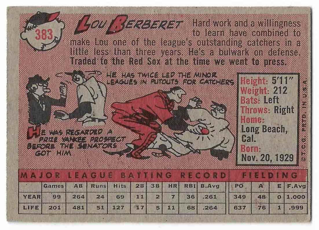1958 Topps Lou Berberet #383 card back image
