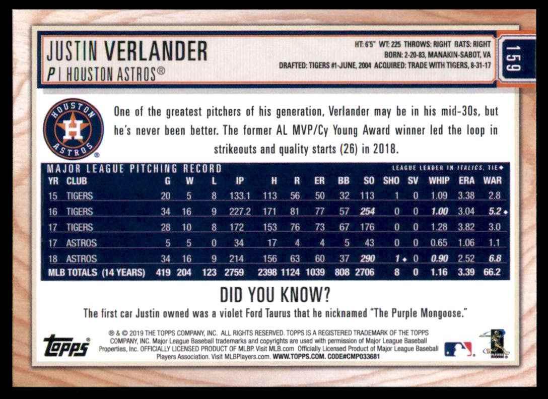 2019 Topps Big League Justin Verlander #159 card back image