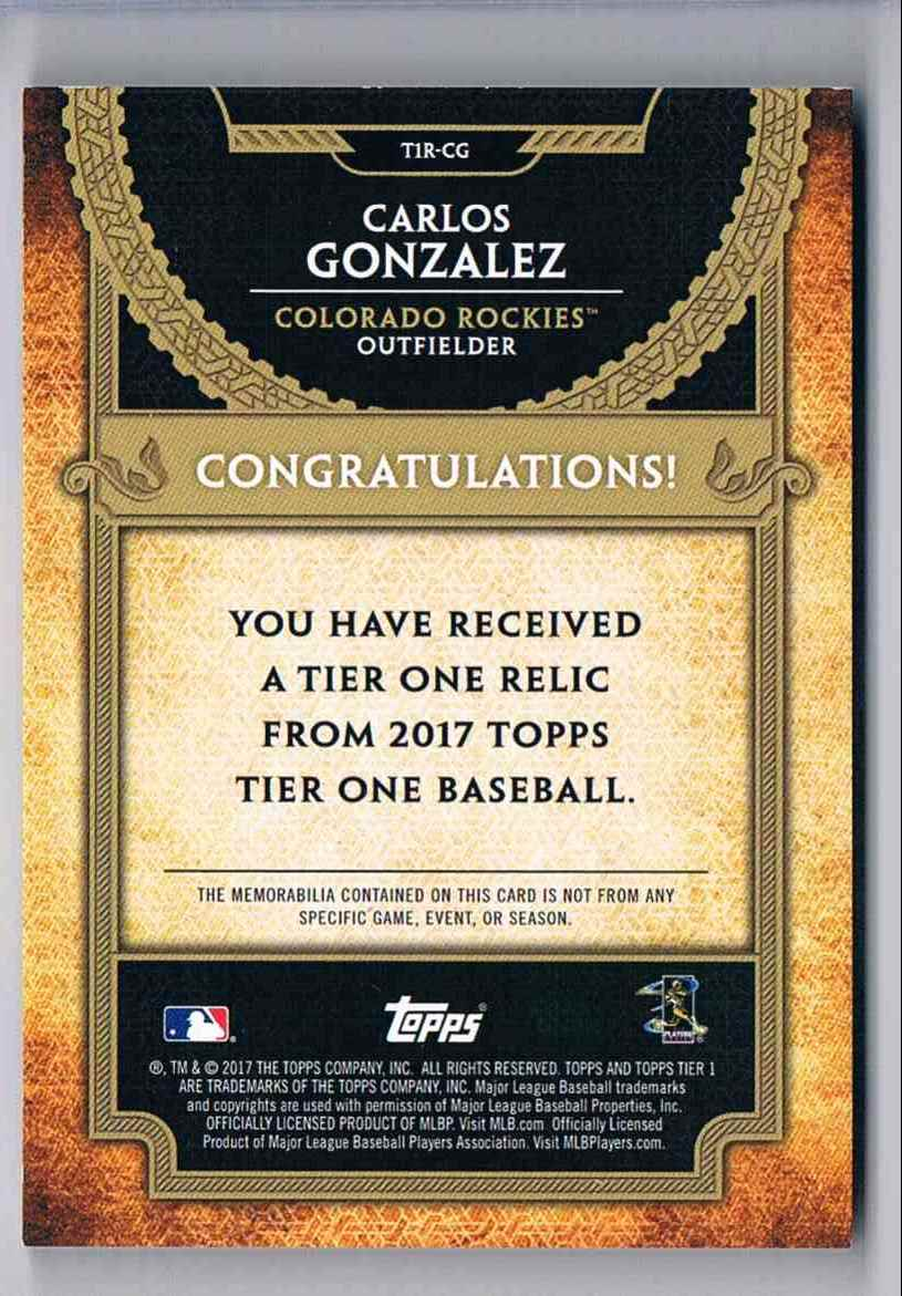2017 Topps Tier One Carlos Gonzalez card back image