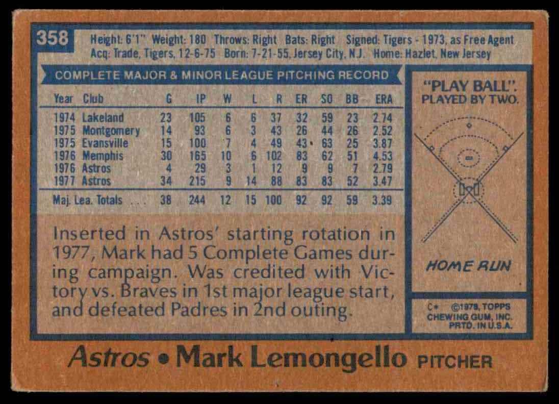 1978 Topps Mark Lemongello #358 card back image