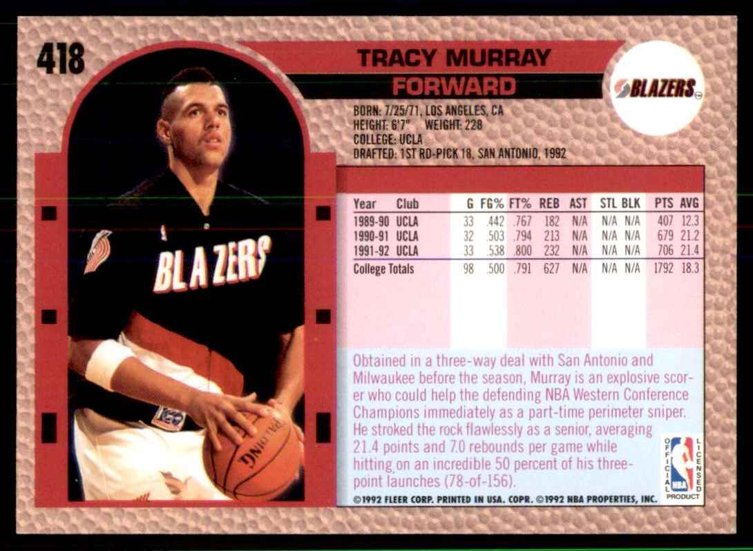 1992-93 Fleer Tracy Murray RC #418 card back image