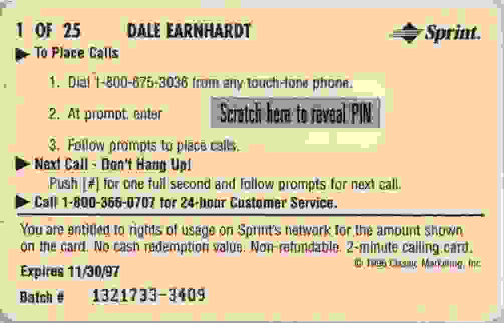 1997 Assets Racing Dale Earnhardt #1 card back image